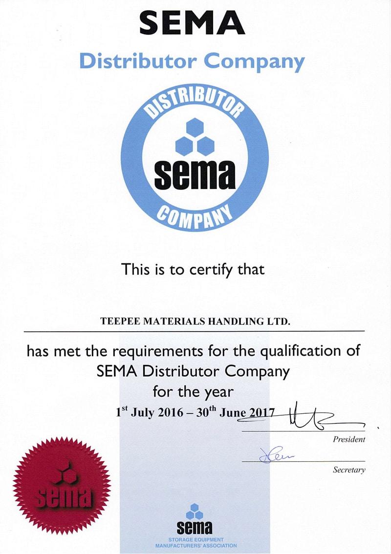 SEMA Distributor Certificate